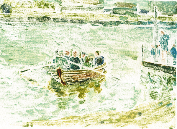 Walberswick Ferry (from monoprint)